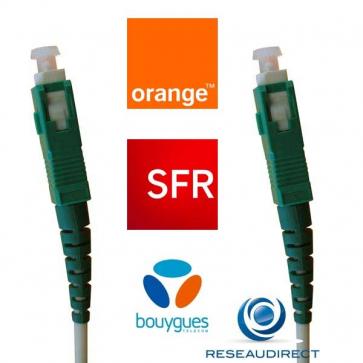 FTTH (Orange/SFR/BT) NTK09SSCASCA004 jarretière optique standard Mono-fibre 9/125 OS2 Blanche G657a SC/APC- SC/APC Lg=04m