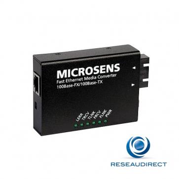 Microsens MS410512-V2 Mini Convertisseur de média Ethernet 100mbs Rj45 100baseT - Fibre multimode 100BaseFx 2xSC 2Km à 1310 nm (Alim à vis)