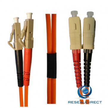 Netkea NTK50LC.SC.0x5 Jarretière OM2 LC-PC / SC-PC Bi-fibre optique Scindex 2.8 mm Multimode 50/125  Lg=0,50 m