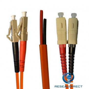Netkea NTK50LC.SC.003S Jarretière OM2 LC-PC / SC-PC Bi-fibre optique Scindex 2.8 mm Multimode 50/125  Lg=03 m Surgainée