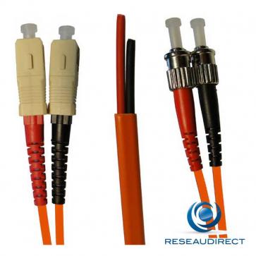 Netkea NTK50SC.ST.002S Jarretière OM2 SC-PC / ST-PC Bi-fibre optique Scindex 2.8 mm Multimode 50/125  Lg=02 m Surgainée