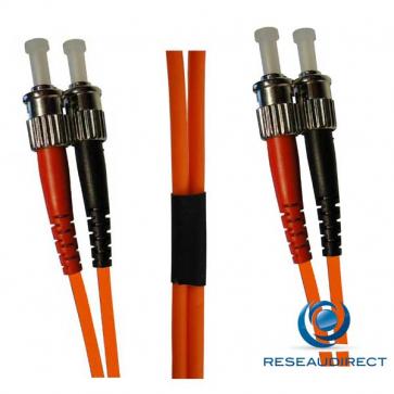 Netkea NTK50ST.ST.005 Jarretière OM2 ST-PC / ST-PC Bi-fibre optique Scindex 2.8 mm Multimode 50/125  Lg=5 m