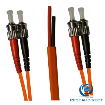 Netkea NTK50ST.ST.010S Jarretière OM2 ST-PC / ST-PC Bi-fibre optique Scindex 2.8 mm Multimode 50/125  Lg=10 m Surgainée