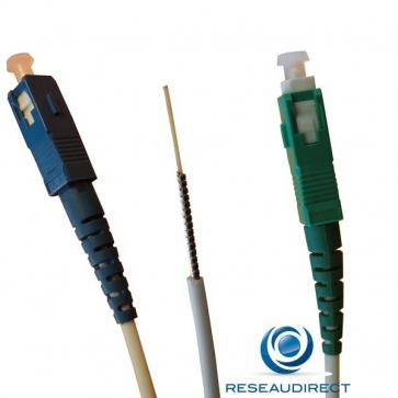 Free NTK09SSCASCU007 FTTH jarretière optique standard Mono-fibre 9/125 OS2 Blanche G657a SC/APC- SC/UPC Lg=07m