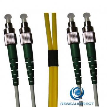 Netkea NTK09FCAFCA015 Jarretière fibre optique Bi-Fibre Scindex Monomode 9/125 FC APC - FC APC Longueur = 15 mètres