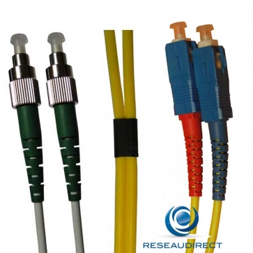 Netkea NTK09FC.SC.005 Jarretière fibre optique Bi-Fibre Scindex Monomode 9/125 FC PC - SC PC Longueur = 05 mètres