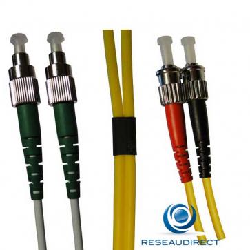 Netkea NTK09FC.ST.025 Jarretière fibre optique Bi-Fibre Scindex Monomode 9/125 FC PC - ST PC Longueur = 25 mètres