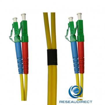 Netkea NTK09LCALCA030 Jarretière fibre optique Bi-Fibre Scindex Monomode 9/125 LC APC - LC APC Longueur = 30 mètres