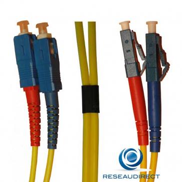 Netkea NTK09LC.SC.002 Jarretière fibre optique Bi-Fibre Scindex Monomode 09/125 LC - SC Longueur = 02 mètres