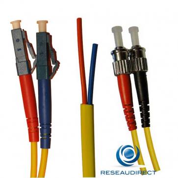Netkea NTK09LC.ST.001S Jarretière OS2 LC-PC / ST-PC Bi-fibre optique Scindex 2.8 mm Monomode 9/125  Lg=01 m Surgainée