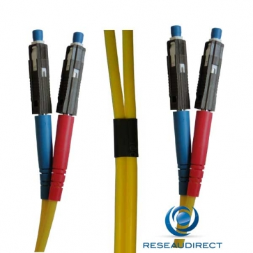 Netkea NTK09MU.MU.025 Jarretière fibre optique Bi-Fibre Scindex Monomode 09/125 MU / MU Longueur = 25 mètres