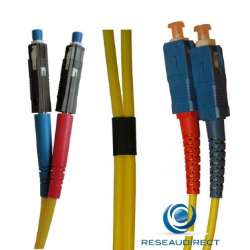 Netkea NTK09MU.SC.001 Jarretière fibre optique Bi-Fibre Scindex Monomode 09/125 MU / SC Longueur = 01 mètre
