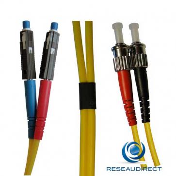 Netkea NTK09MU.ST.020 Jarretière fibre optique Bi-Fibre Scindex Monomode 09/125 MU / ST Longueur = 20 mètres