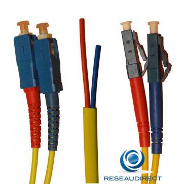 Netkea NTK09LC.SC.020S Jarretière OS2 LC-PC / SC-PC Bi-fibre optique Scindex 2.8 mm Monomode 9/125 Lg=20 m Surgainée
