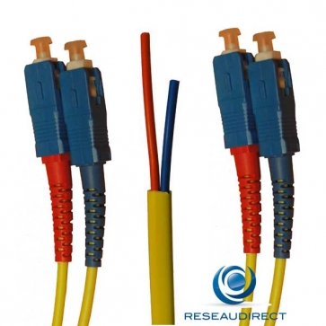 Netkea NTK09SC.SC.010S Jarretière OS2 SC-PC / SC-PC Bi-fibre optique Scindex 2.8 mm Monomode 9/125  Lg=10 m Surgainée