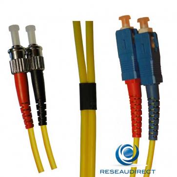 Netkea NTK09SC.ST.010 Jarretière fibre optique Bi-Fibre Scindex Monomode 9/125 SC PC - ST Longueur = 10 mètres