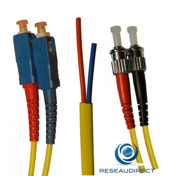 Netkea NTK09SC.ST.002S Jarretière OS2 SC-PC / ST-PC Bi-fibre optique Scindex 2.8 mm Monomode 9/125  Lg=02 m Surgainée