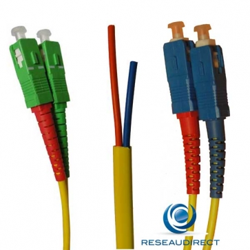 Netkea NTK09SCASC.015S Jarretière OS2 SC-APC / SC-PC Bi-fibre optique Scindex 2.8 mm Monomode 9/125  Lg=15 m Renforcée