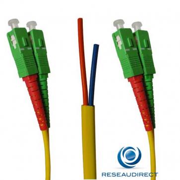 Netkea NTK09SCASCA010S Jarretière OS2 SC-APC / SC-APC Bi-fibre optique Scindex 2.8 mm Monomode 9/125  Lg=10 m Surgainée