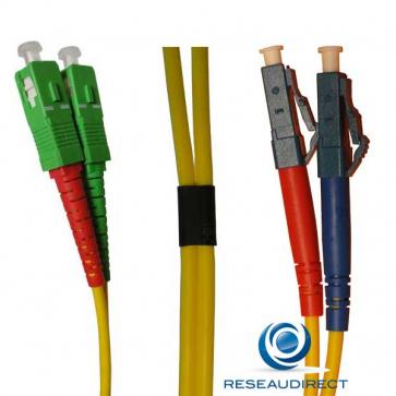 Netkea NTK09SCALC.010 Jarretière fibre optique Bi-Fibre Scindex Monomode 09/125 SC-APC LC-PC Longueur = 10 mètres
