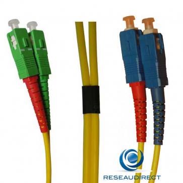 Netkea NTK09SCASC.015 Jarretière fibre optique Bi-Fibre Scindex Monomode 9/125 SCAPC - SC PC Longueur = 15 mètres