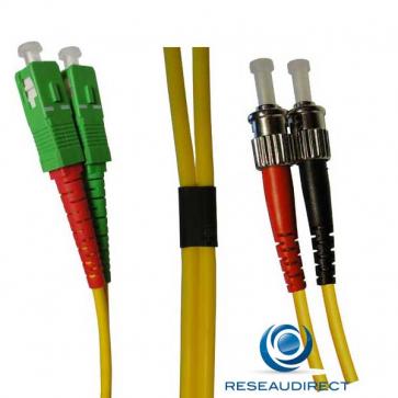 Netkea NTK09SCAST.030 Jarretière fibre optique Bi-Fibre Scindex Monomode 9/125 SCAPC - ST Longueur = 30 mètres