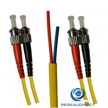 Netkea NTK05ST.ST.015S Jarretière OS2 ST-PC / ST-PC Bi-fibre optique Scindex 2.8 mm Monomode 9/125  Lg=15 m Surgainée