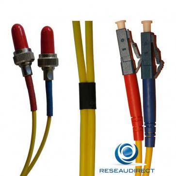 Netkea NTK09VFRLC.002 Jarretière fibre optique Bi-Fibre Scindex Monomode 9/125 Radiall VFO FR LC PC Longueur = 02 mètres