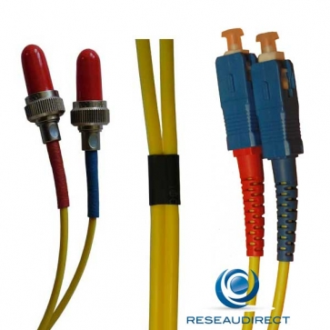 Netkea NTK09VFRSC.002 Jarretière fibre optique Bi-Fibre Scindex Monomode 9/125 Radiall VFO FR SC PC Longueur = 02 mètres