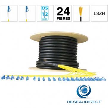 Netkea NTKT24LC.LC.09BO050 Câble 24 fibres vrai Breakout 2mm monomode 9/125 OS1/OS2 LC / LC lg 50 m