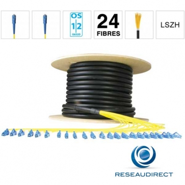 Netkea NTKT24SC.SC.09BO020 Câble 24 fibres vrai Breakout 2mm monomode 9/125 OS1/OS2 SC / SC lg 20 m