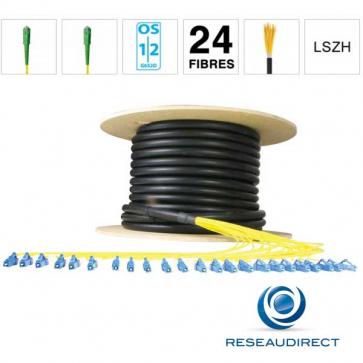 Netkea NTKT24SCASCA09BO050 Câble 24 fibres vrai Breakout 2mm monomode 9/125 OS1/OS2 SC-APC / SC-APC lg 50 m