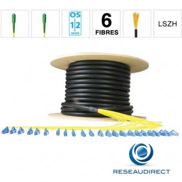 Netkea NTKT06SCASCA09BO020 Câble 6 fibres vrai Breakout 2mm monomode 9/125 OS1/OS2 SC-APC / SC-APC lg 20 m