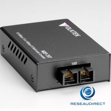Volktek NXF-757MC Convertisseur de média Ethernet 100mbs Rj45 100baseT - Fibre multimode 100BaseFx 2xSC 2Km