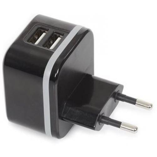 Chargeur secteur 2 USB ultra compact noir 5V 3,4A