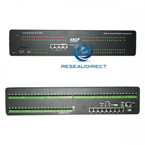 AKCP SecurityProbe 5ES-X60 Boitier supervision IP SNMP NAGIOS Ethernet 8 RJ45 pour capteurs non fournis 60 contacts secs