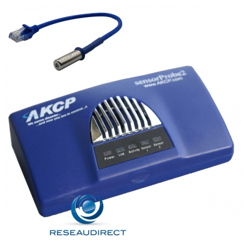 AKCP Sensorprobe2 SP2dTH01 Boitier supervision IP SNMP NAGIOS Ethernet deux ports capteurs THS01 Température Humidité 30cm