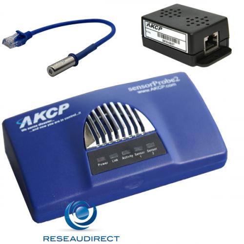 AKCP Sensorprobe2 SP2dTH01-T300 Boitier supervision IP SNMP NAGIOS Ethernet deux capteurs Température THS01 30cm TMP00 300m