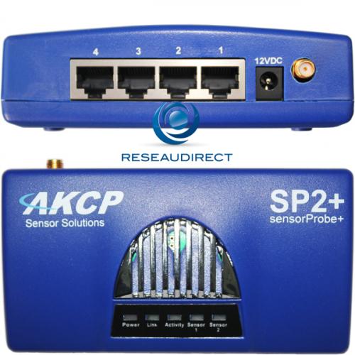 AKCP SP2+ Sensorprobe2 Plus Boitier gestion avancé de capteurs IP Ethernet quatre ports RJ45 pour capteurs intelligents