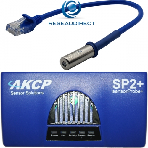 AKCP SP2+dTH01 Sensorprobe2 Plus avec capteur température Humidité THS01 Boitier gestion avancé IP 4 ports capteurs