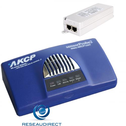 AKCP Sensorprobe2 SP2POEi Boitier de supervision IP SNMP NAGIOS Ethernet POE 2 RJ45 libres pour capteurs injecteur PD-3501G/AC