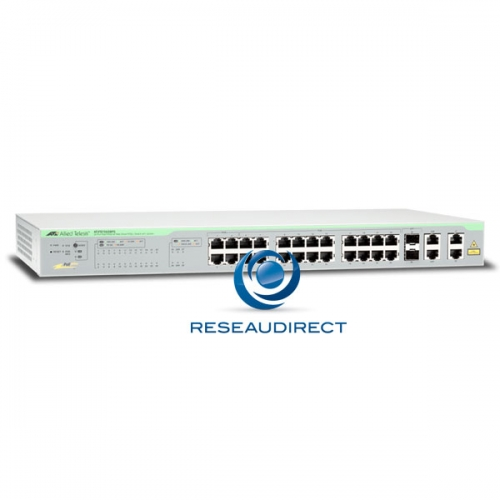 Allied Telesis AT-FS750/28PS switch Fast Ethernet POE 24 10/100 Mbs 193 watts 2x1G RJ45 2xG-SFP combo configurable Web L2