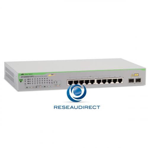 Allied Telesis AT-GS950/10PS Switch Gigabit Ethernet 8 ports 100/1000 Mbs POE+ 75 Watts 2xSFP/RJ45 Websmart Niveau 2 Fanless