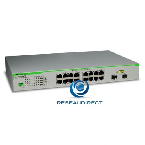 Allied Telesis AT-GS950/16 Commutateur Gigabit Ethernet 16 ports 10/100/1000 Mbs 2 giga SFP configurable Websmart Niveau 2 Fanless