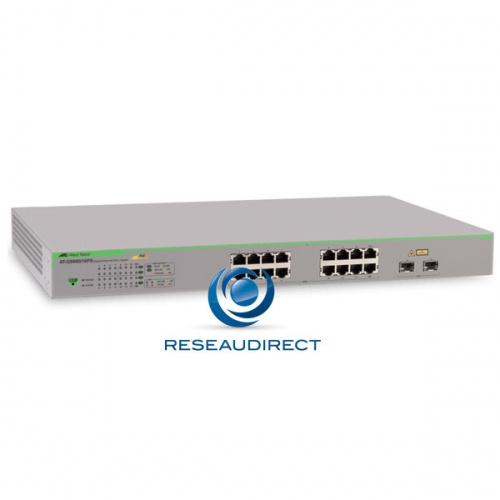 Allied Telesis AT-GS950/16PS Switch Gigabit Ethernet 16 ports 100/1000 Mbs POE+ 185 Watts 2xSFP Websmart Niveau 2