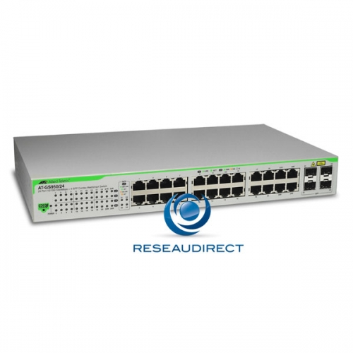 Allied Telesis AT-GS950/24 Commutateur Gigabit Ethernet 24 ports 10/100/1000 Mbs 2 giga SFP configurable Websmart Niveau 2 Fanless