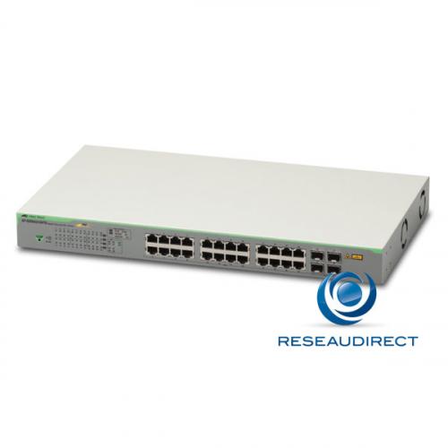 Allied Telesis AT-GS950/28PS Switch Gigabit Ethernet 24 ports 100/1000 Mbs POE+ 185 Watts 4 slots SFP Websmart Niveau 2