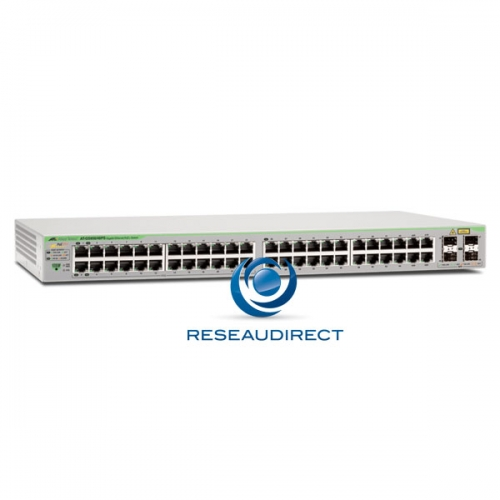Allied Telesis AT-GS950/48PS Switch Gigabit Ethernet 48 ports 100/1000 Mbs POE+ 370 Watts 4 slots SFP/RJ45 Websmart Niveau 2