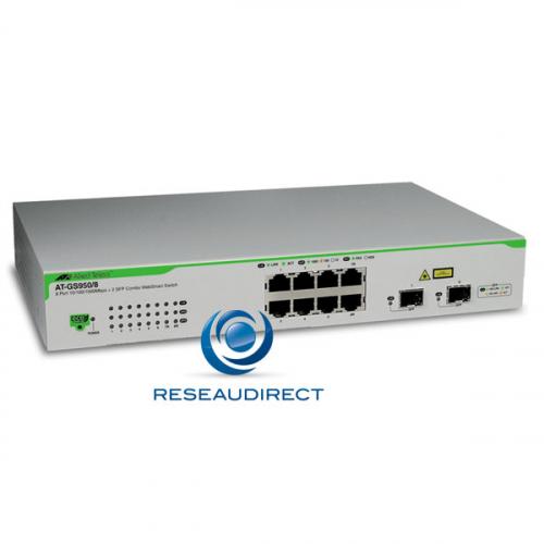 Allied Telesis AT-GS950/8 Commutateur Gigabit Ethernet 8 ports 10/100/1000 Mbs 2 giga SFP configurable Websmart Niveau 2 Fanless