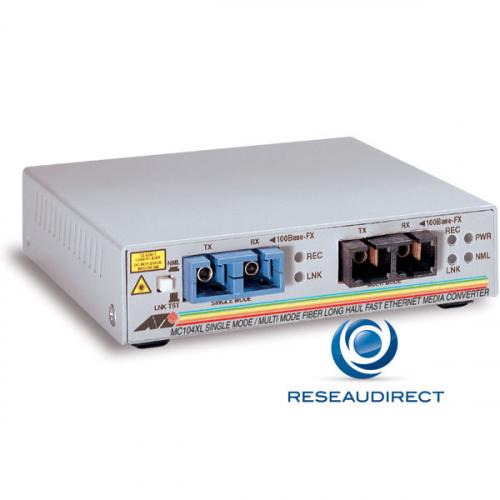 Allied Telesis AT-MC104XL Convertisseur de média Ethernet 100mbs Fibre multimode - Fibre monomode 100BaseFx 2xSC portée 2/15Km